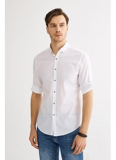Avva Erkek  Seersucker Düğme Yaka Slim Gömlek A01Y2071 Beyaz